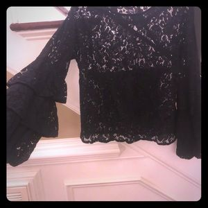 Solitaire M sheer lace blouse. Black